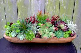 succulent centerpieces faux succulent centerpiece arrangement in teak wood bowl