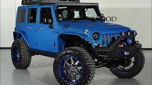 rubicon jeep blue 2014 lifted jeep wrangler unlimited kevlar coated sema build youtube