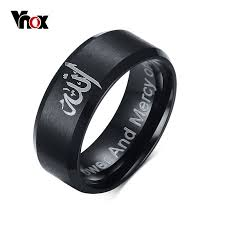 aliexpress buy 2016 new fashion men jewelry black cz vnox fashion black muslim allah ring 8mm stainless steel ring men