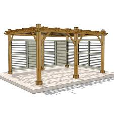 Large Brick Patio Design With 12 X 16 Cedar Pergola Outdoor by Outdoor Living Today 12 X 16 Breeze Pergola With 2 Louvered Wall