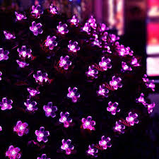 purple blossom decorative solar string lights 7m 50 led a green