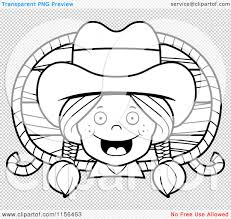 cartoon clipart of a black and white happy cowgirl with braids