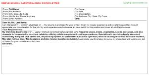 cafeteria cook cover letter