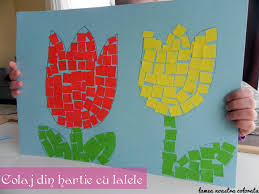 colaj cu lalele din hartie colorata spring kids craft my blog