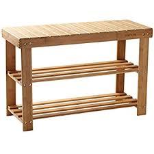 Hallway Storage Bench 2 Seat Amazon Com Shoe Rack Bamboo Shoe Bench 2 Tier Seat Shoe Shelf