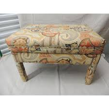 Upholster Ottoman Vintage Rectangular Batik Paisley Fully Upholster Ottoman Chairish