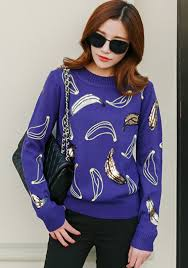 banana sweater blue banana print sequin embroidery pullover sweater pullovers