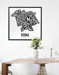 Portland Neighborhood Map Poster by Rome Neighborhoods Rioni Di Roma Typography Map Poster Or