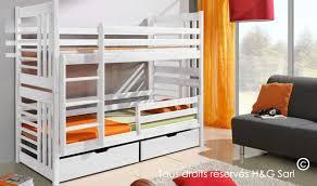 chambre lit superposé lit superposé blanc en bois massif pour chambre 2 enfants