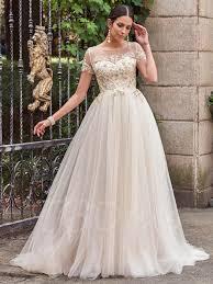 beading wedding dresses sleeves scoop neck beading a line wedding dress tbdress com