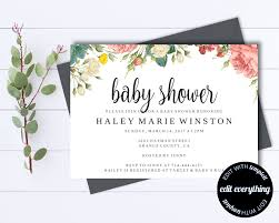 floral baby shower invitation template floral baby shower