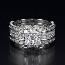 platinum crystal rings images Diamond bridal set floral premium 1 1 2 carat 1 50ct princess jpg