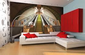 mural modern hallway 3d render wall mural ideas ravishing wall