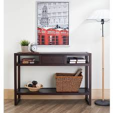 entry way table furniture of america neviah espresso open modern entryway table