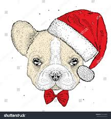 french bulldog christmas hat cute puppy stock vector 522102400