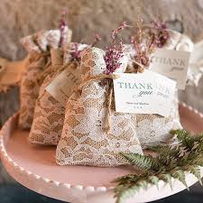 wedding favor containers rustic chic burlap and lace drawstring favor bags the knot shop