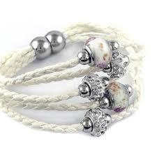 swarovski crystal leather bracelet images Buy swarovski elements crystal and murano bead leather bracelet by jpg