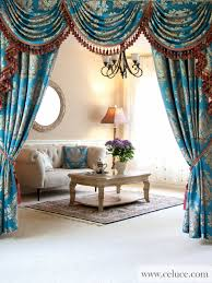 classic overlapping swag valances curtain drapes blue lantern
