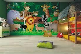 fresque murale chambre bébé design interieur fresque murale chambre enfant animaux jungle lit