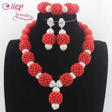 new handmade coral beaded balls pendant necklace set new wedding