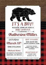 baby shower invitation cub burlap mountain lumberjack buffalo