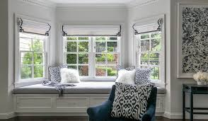 Key Bench Master Bedroom Bay Window Bench With Navy Greek Key Roman Shades