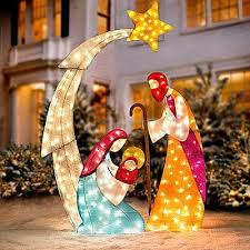 lighted outdoor nativity outdoor nativity sets holy family baby jesus and yard decorations