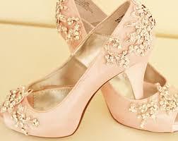 wedding shoes jeweled heels blush wedding shoes etsy