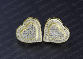 back earrings for men guangzhou heart mens micro pave back earrings for men
