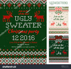 merry christmas party invitation cards knitted stock vector