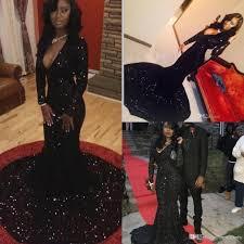2016 black evening dresses mermaid v neck long sleeves