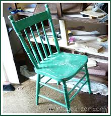 How To Paint Wooden Chairs by A Vintage Green Home Made Chalk Paint Vintage Wooden Chair