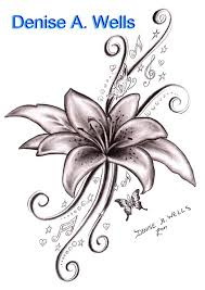 black ink lily flower with flying butterflies tattoo design by