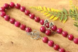 ruby necklace set images Designer ruby pink agate gemstone artisan handmade necklace set at jpg