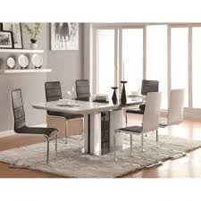 contemporary piece white dining table set with upholstered chairs