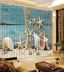 Fish Curtains Custom Curtains 3d Curtains Fish Net Starfish Conch Shell