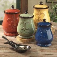 beige fleur de lis ceramic kitchen canisters set 3 by ack ceramic kitchen canister sets ebay