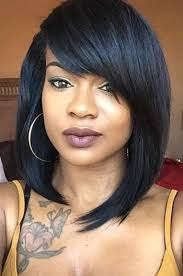 pic of black women side swept bangs and bun hairstyle layered medium bob with side swept bangs celebrity lace wigs 150