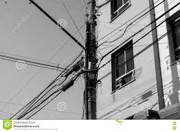 power pole with many messy wires stock photo image 78224629