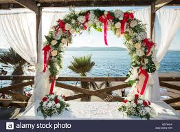 wedding setup wedding venue ceremony setup material flowers stock photo