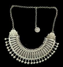 silver bridal necklace images Bohemian silver coin necklace set indian bridal jewelry set jpg