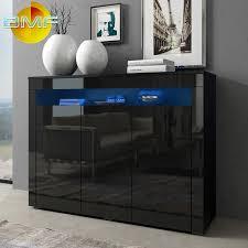 Modern Sideboard Uk Black Modern High Gloss Cabinet Sideboard Cupboard Buffet Rgb Led