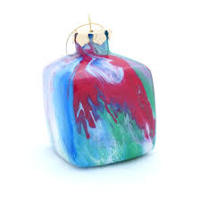glass christmas ornaments painted inside multicolored cube 2 75