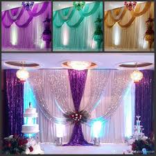 wedding anniversary backdrop gold silk wedding backdrops with swag stage background drape