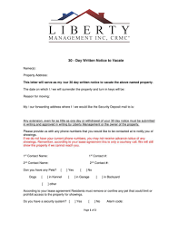 30 Day Lease Termination Notice by Resident Documents