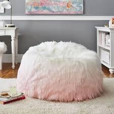 peach ombre fur rific faux fur beanbag pbteen