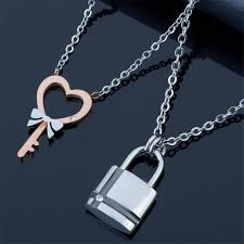 couple necklace key images 12 pcs lot titanium jewelry stainless steel jewelry titanium jpg