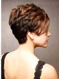 side view of blended wedge haircut sweet and sassy short cropped style with highlights side view