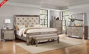 all mirror bedroom set amazon com classic contemporary ava bedroom collection silver