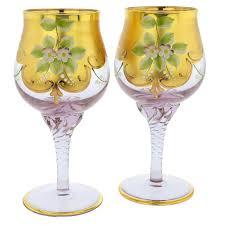 murano glass goblets set of two murano glass wine glasses 24k